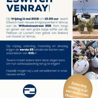 Vrijdag 11 mei feestelijke opening nieuwe kringloopwinkel van 2Switch in Venray!